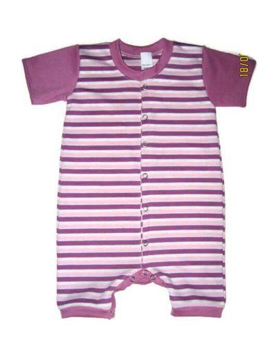 baba napozó, lila csíkos rövid ujjú, lányoknak, termékkép.