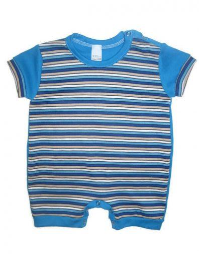 baba napozó, kék csíkos, rövid ujjal, kisbabáknak, termékkép.