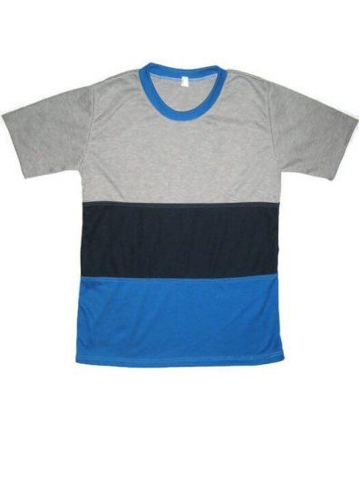 Fiú rövid ujjú póló, gyerek póló, szürke, sötétkék, tengerkék szín variációjából készült póló kisfiúknak, termékkép.
