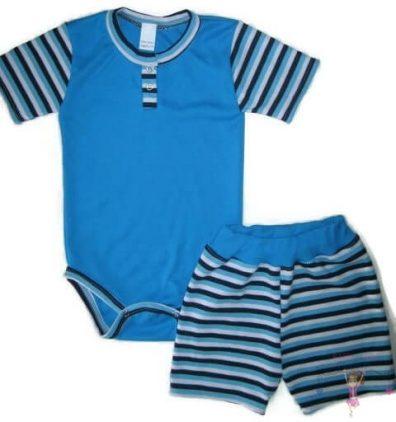 kisfiú szett, nyári két részes szett, türkizkék színű, kisbabáknak, termékkép.