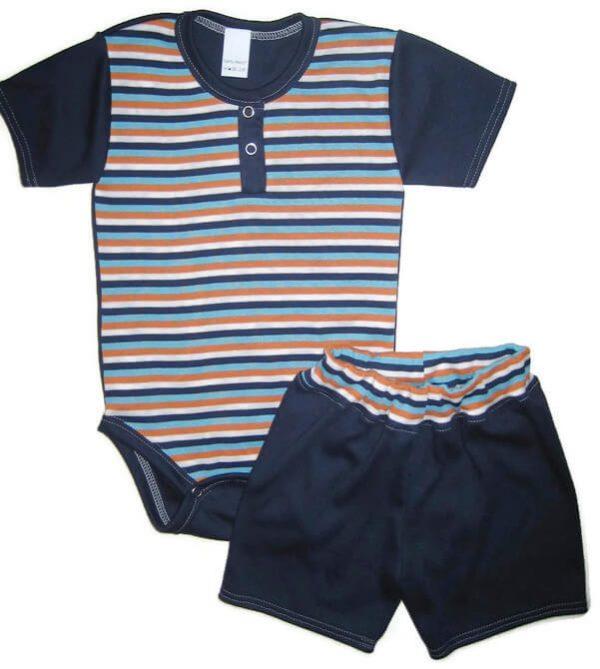kisfiú szett, sötétkék csíkos két részes, kisbabáknak, termékkép.