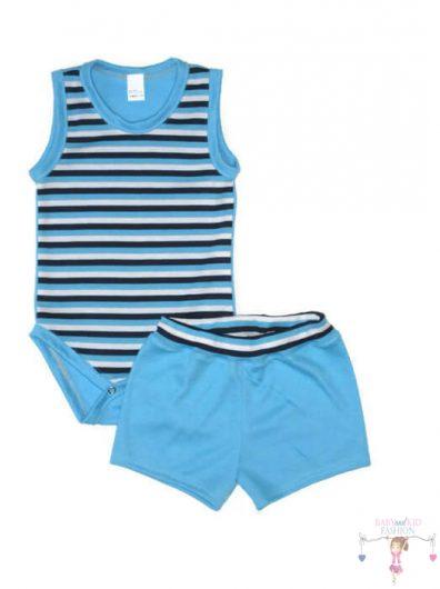 kisfiú szett, nyári két részes szett, kék csíkos, kisbabáknak, termékkép.