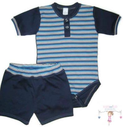 kisfiú szett, nyári két részes szett, sötétkék színű, kisbabáknak, termékkép.