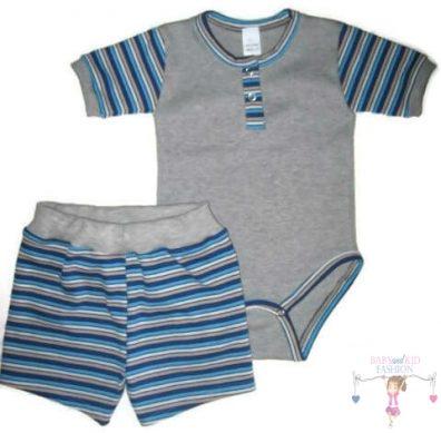 kisfiú szett, nyári két részes szett, világosszürke színű, kisbabáknak, termékkép.