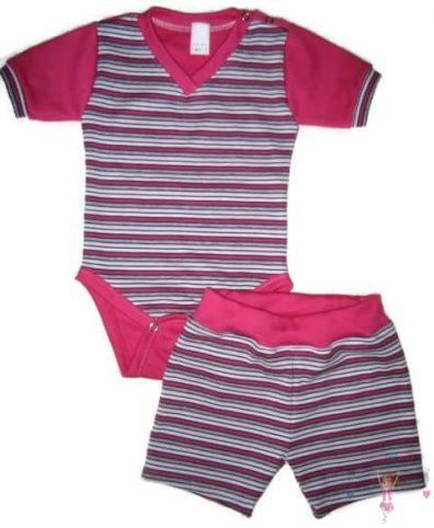 kislány ruha szettek, nyári két részes pink csíkos szett, kisbabáknak, termékkép.