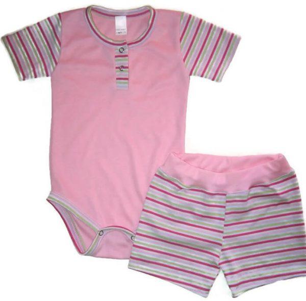 kislány ruha szettek, babarózsaszín két részes szett kisbabáknak, termékkép.