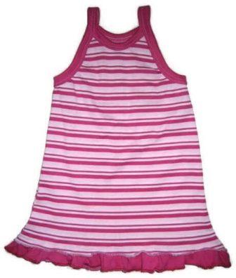 Kislány ruha szabásminta, huncut megoldásokkal és újrahasznosítással, pink-fehér csíkos fodros, spagetti pántos kislány ruha, kép.