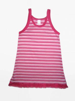 iker lány ruhák, pink-fehér csíkos, spagetti pántos, fodros aljú kislány ruha, kép.