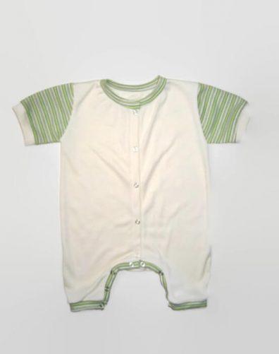 napozó, vajszínű zöld csíkos rövid ujjal, kisbabáknak, termékkép.