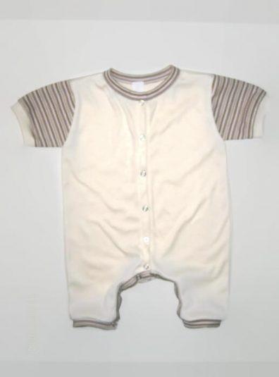 napozó, vajszínű, drapp csíkos rövid ujjal, kisbabáknak, termékkép.