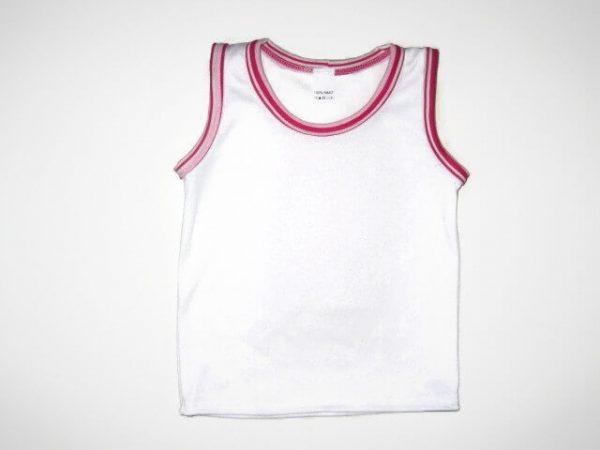 gyerek ujjatlan póló, fehér lányos, termékkép.