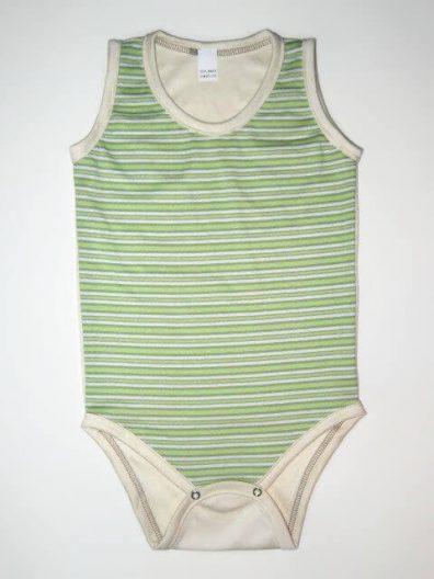 baba body, zöld csíkos kerek nyakú, termékkép.