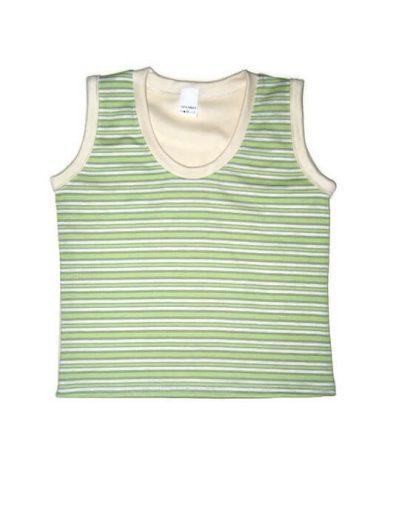 gyerek ujjatlan póló, kerek nyakú zöld csíkos, termékkép.