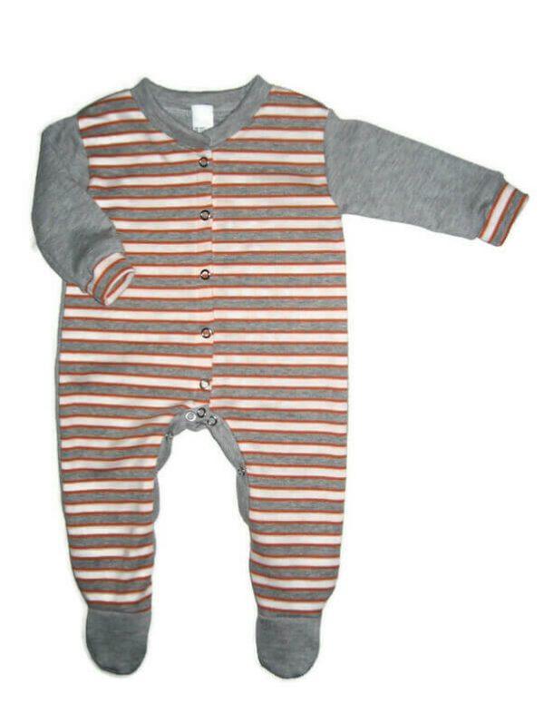 Hosszú ujjú rugdalózó fiús, narancssárga-szürke csíkos, szürke hosszú ujjal és talppal, termékkép.
