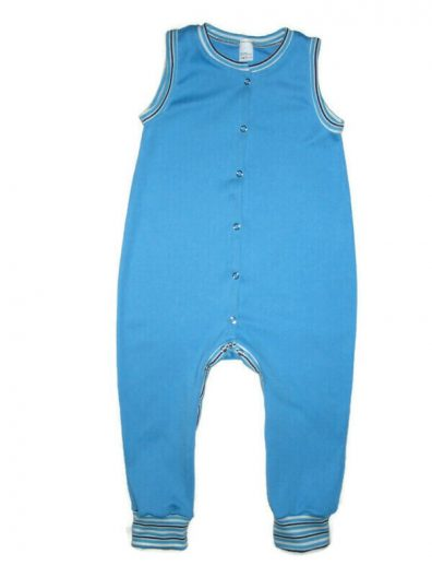 Kezeslábas pizsama gyerekeknek, türkiszkék színű, kék csíkos passzékkal, ujjatlan, elöl végig patentos fazon, termékkép.