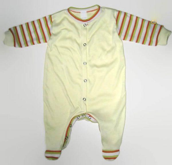 hosszú ujjú rugdalózó, sárga, kisbabáknak, termékkép.