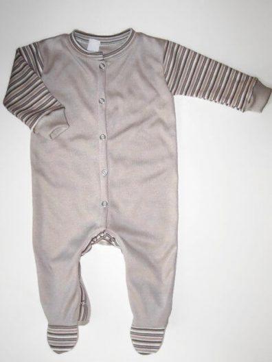 hosszú ujjú rugdalózó, drapp, kisbabáknak, termékkép.