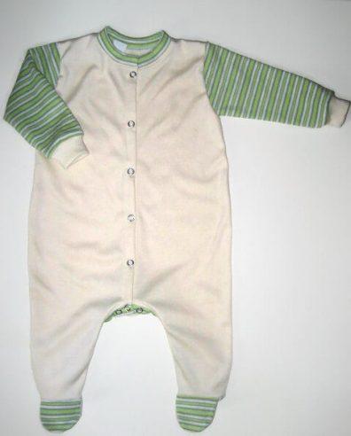 hosszú ujjú rugdalózó, vajszínű, kisbabáknak, termékkép.