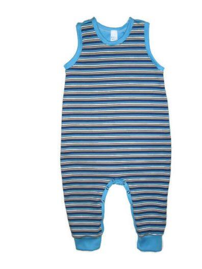kezeslábas pizsama, fiúnak, kék csíkos, kisbabáknak, termékkép.