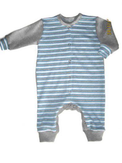 kezeslábas pizsama, kék csíkos, termékkép.