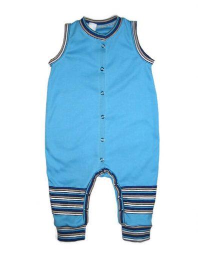 Kezeslábas pizsama, türkizkék színű, ujjatlan, termékkép.