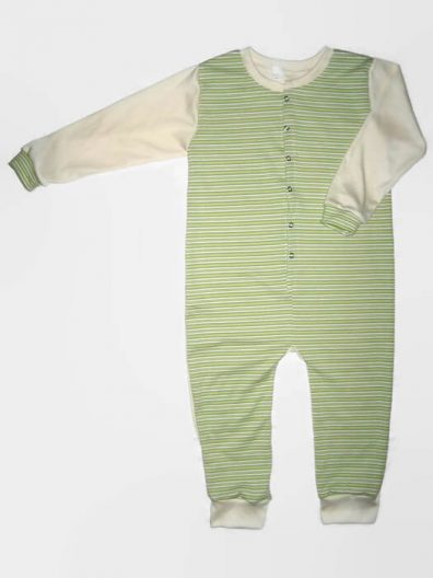 Gyermek kezeslábas pizsama, zöld csíkos, hosszú ujjú, termékkép.