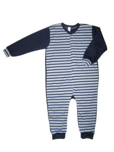 gyermek kezeslábas pizsama, kék csíkos, kisfiúknak, termékkép.