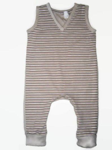 kezeslábas pizsama, drapp csíkos, kisbabáknak, termékkép.