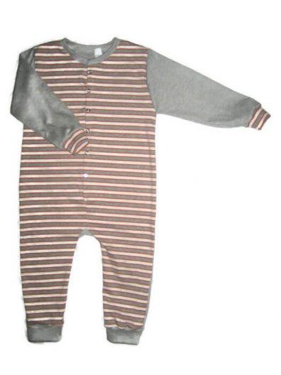 Gyermek kezeslábas pizsama, hosszú ujjú, narancssárga csíkos, termékkép.