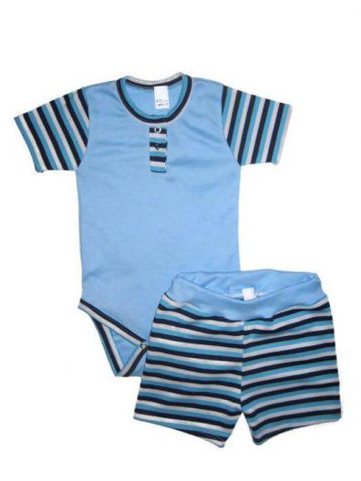 nyári fiú szett, két részes kék szett, kisbabáknak termékkép.