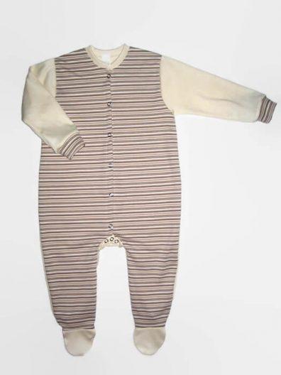 hosszú ujjú rugdalózó, drapp csíkos, kisbabáknak, termékkép.