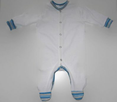 hosszú ujjú rugdalózó, fehér, fiús, kisbabáknak, termékkép.