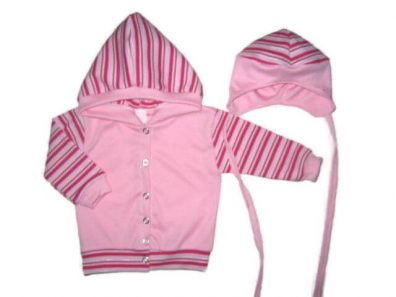 gyerek kardigán, rózsaszín, sapkával, termékkép.
