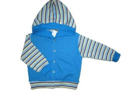 bébi kocsikabát, kék, kapucnis, kisfiúknak, termékkép.