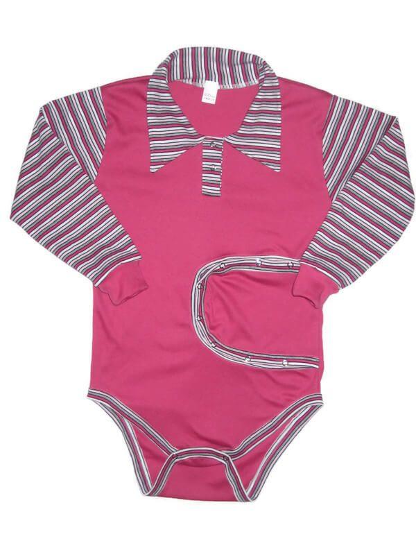 baba body, peg body, pink színű, hosszú ujjú, kislányoknak, termékkép.