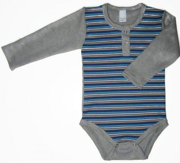 baba body, szürke színű, hosszú ujjú, kisfiúknak, termékkép.