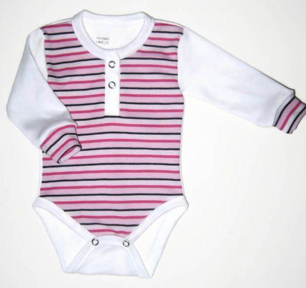 baba body, pink csíkos, kislányoknak, hosszú ujjú, termékkép.