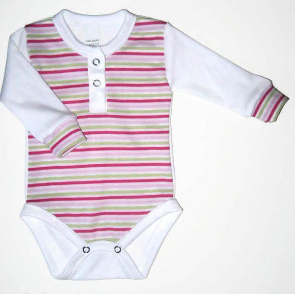 baba body, rózsaszín csíkos, hosszú ujjú, kislányoknak, termékkép.