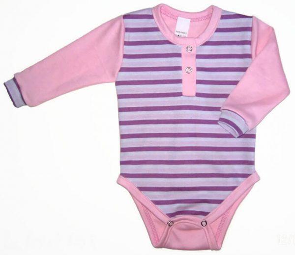 baba body, lila csíkos, hosszú ujjú, kislányoknak, termékkép.