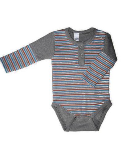 baba body, szürke csíkos, fiús, kisbabáknak, termékkép.