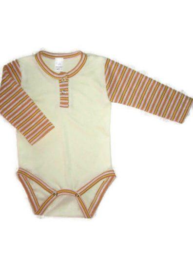 baba body, sárga színű, uniszex, hosszú ujjú, kisbabáknak, termékkép.