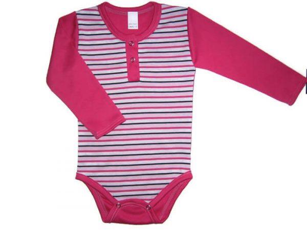 baba body, pink csíkos, hosszú ujjú, kislányoknak, termékkép.