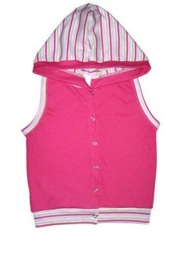 baba mellény, pink színű, kapucnis kislány mellény, termékkép.