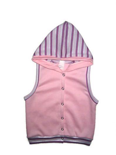 baba mellény, kapucnis, rózsaszín színű, kislányoknak, termékkép.