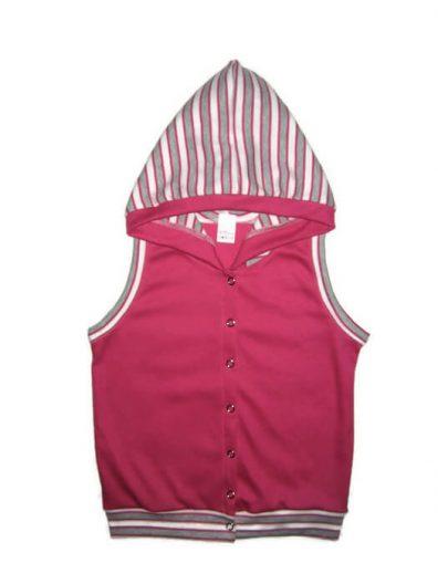 baba mellény, pink színű, kapucnis, kislány mellény, termékkép.
