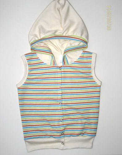 Baba mellény pamutból uniszex, kapucnis mellény, uniszex színekből, kisbabáknak, termékkép.
