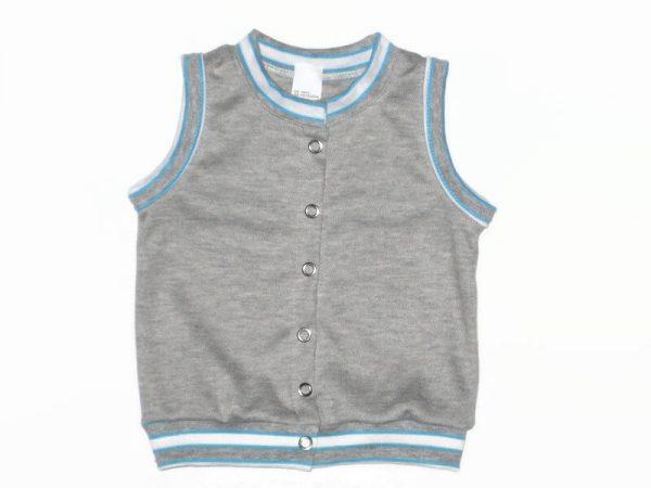 pamut baba mellény, kisfiúknak, világosszürke színű, termékkép.