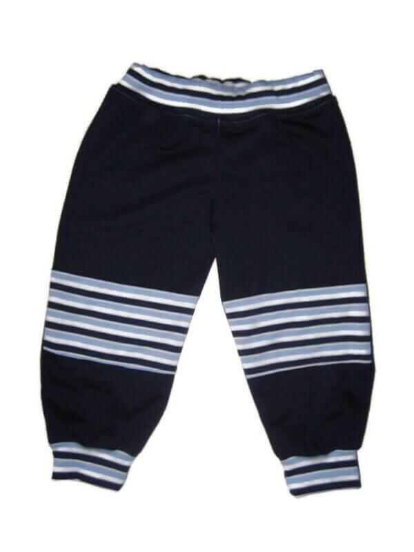 kisfiú nadrág, dupla térdfolttal, sötétkék színű, hosszú szárú, kisbabáknak, termékkép.