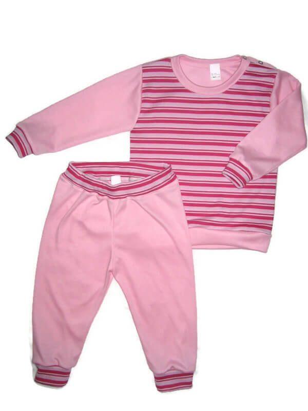 gyerek pizsama, pink csíkos, kislányoknak, termékkép.