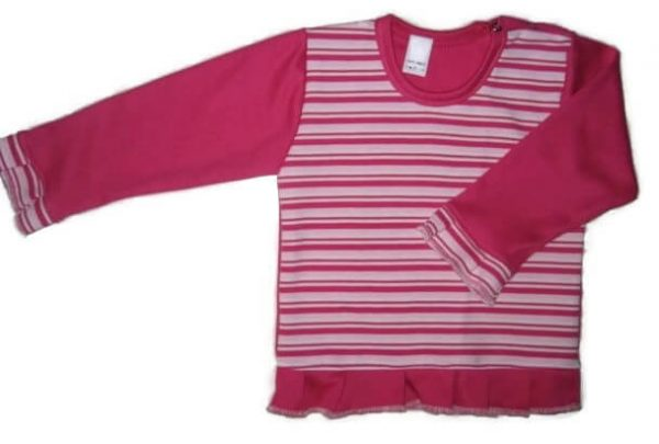 baba pulcsi, pink csíkos, kislányoknak, termékkép.